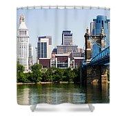 Downtown Cincinnati Skyline And Roebling Bridge Shower Curtain