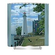 Downtown Detroit Lighthouse Shower Curtain