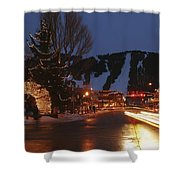 Downtown Jackson Hole At Night Shower Curtain
