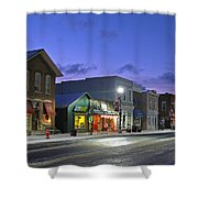 Downtown Waterville At Christmastime Shower Curtain