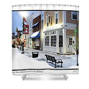 Downtown Waterville Decorated For The Holidays Shower Curtain