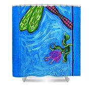 Dragonfly And Bee Shower Curtain