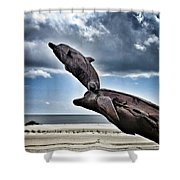 Dramatic Dolphins Shower Curtain