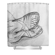 Drawing Class. Sandaled Feet Shower Curtain