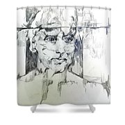 Drawing Of A Man Shower Curtain