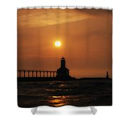 Dreamy Sunset At The Lighthouse Shower Curtain