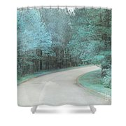 Dreamy Teal Aqua Blue Nature Trees Shower Curtain