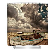 Dreamy Wrecked Wooden Fishing Boats Shower Curtain