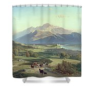 Drover On Horseback With His Cattle In A Mountainous Landscape With Schloss Anif Salzburg And Beyond Shower Curtain