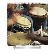 Drummers Of Varied Backgrounds Join Shower Curtain