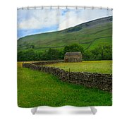 Dry Stone Walls And Stone Barn Shower Curtain