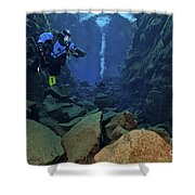 Dry Suit Divers In Gin Clear Waters Shower Curtain