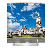 Dunedin Railway Station During A Sunny Day  Shower Curtain