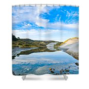 Dunes At The Beach Side During Morning  Shower Curtain
