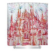 Duomo City Of Milan In Italy Portrait Shower Curtain
