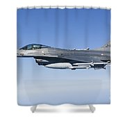 Dutch F-16am During A Combat Air Patrol Shower Curtain