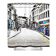 Dutch Shopping Street- Digital Art Shower Curtain