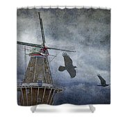 Dutch Windmill With Ravens Shower Curtain