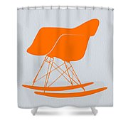 Eames Rocking Chair Orange Shower Curtain by Naxart Studio