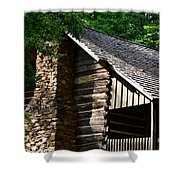 Early 19th Century Log Cabin Shower Curtain