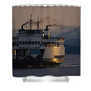 Early Morning Ferry Leaves Seattle Shower Curtain