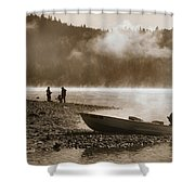Early Morning Fishing On Scotts Flat Lake In Sepia Shower Curtain
