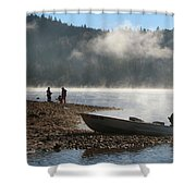 Early Morning Fishing On Scotts Flat Lake Shower Curtain