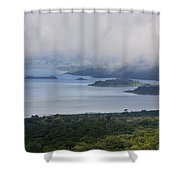 Early Morning Fog Rises Over Lake Shower Curtain