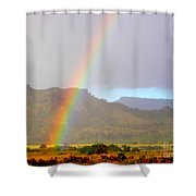 Early Morning Rainbow At Sleeping Giant Mountain Shower Curtain