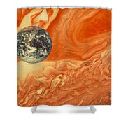 Earth And Jupiter Shower Curtain
