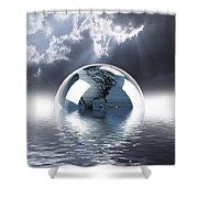 Earth Globe Reflection Shower Curtain