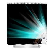Earth Globe With Blue Bursts Shower Curtain