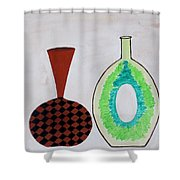 Earthen Decorative Pottery Shower Curtain