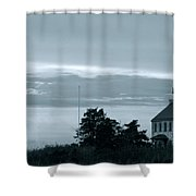 East Point Light At Dusk  Shower Curtain