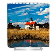 East Point Lighthouse Reflection Shower Curtain