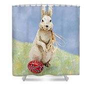 Easter Bunny With A Painted Egg Shower Curtain