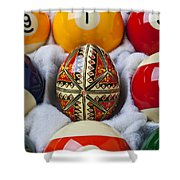 Easter Egg Among Pool Balls Shower Curtain