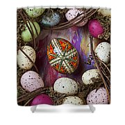 Easter Egg With Wreath Shower Curtain