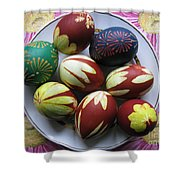Easter Eggs. Plant Print And Wax Drawing. Shower Curtain