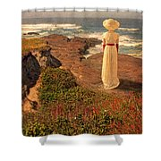 Edwardian Lady By The Sea Shower Curtain