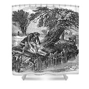 Eel Fishing, 1850 Shower Curtain