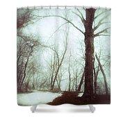 Eerie Winter Woods Shower Curtain