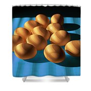 Eggs On Blue Lit Through Venetian Blinds Shower Curtain
