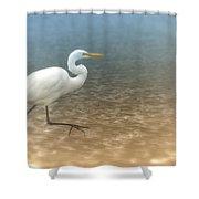 Egret Stroll Shower Curtain