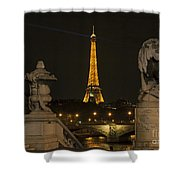 Eiffel Tower And The Seine River From Pont Alexandre At Night Shower Curtain