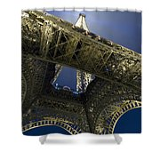 Eiffel Tower At Night,directly Below Shower Curtain
