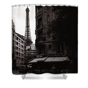Eiffel Tower Black And White 2 Shower Curtain