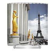 Eiffel Tower From Trocadero Shower Curtain by Elena Elisseeva