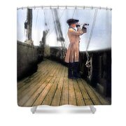 Eighteenth Century Man With Spyglass On Ship Shower Curtain