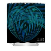 Electric Blue Heart Shower Curtain